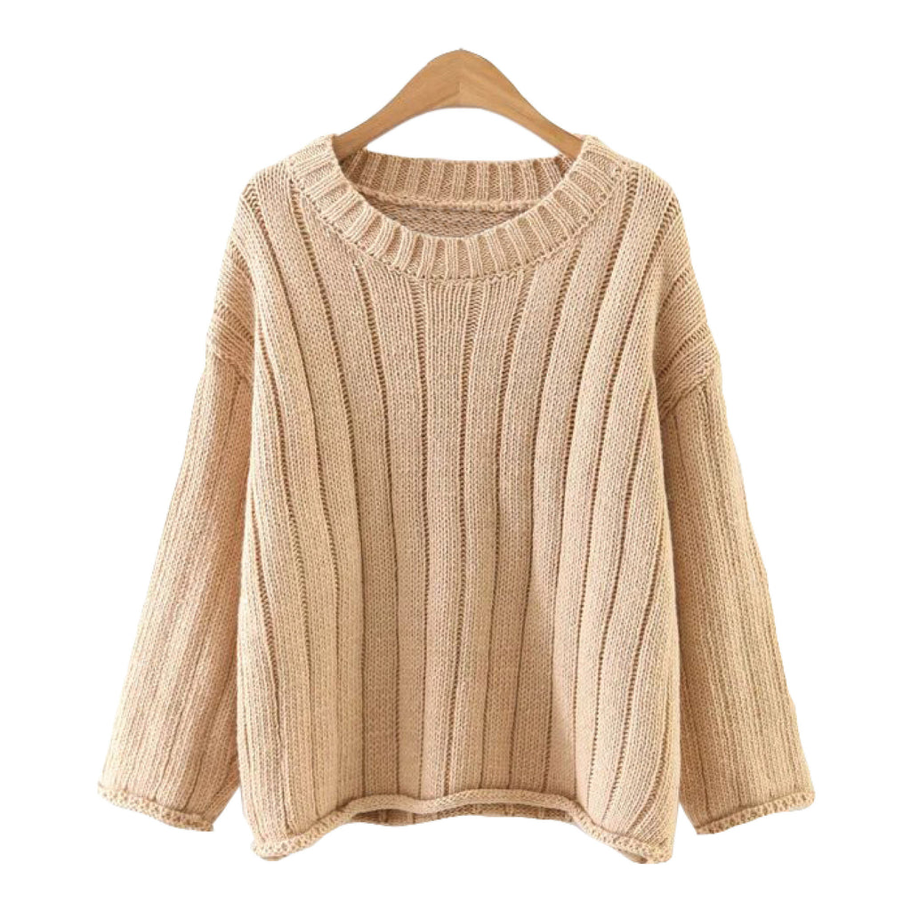 'Felicitee' Knitted Round Neck Sweater Nude Goodnight Macaroon
