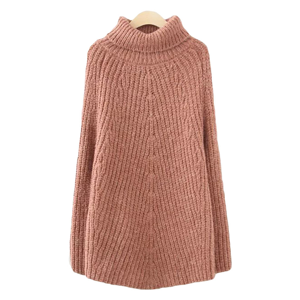 'Theresa' High Low Knitted Turtleneck Sweater Brick Red Goodnight Macaroon