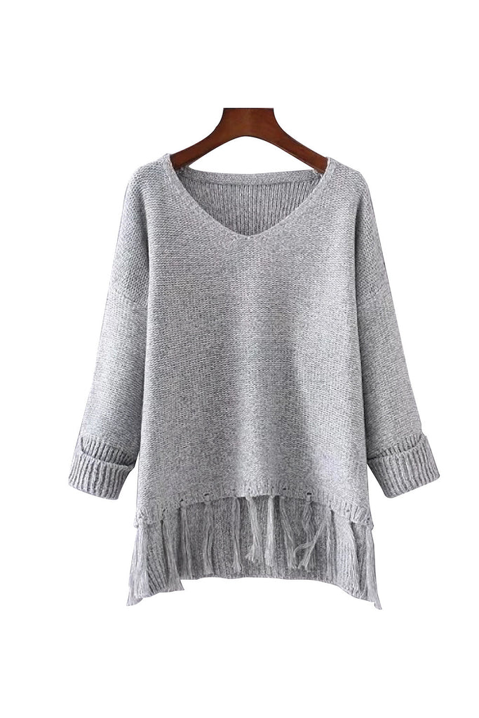 Goodnight Macaroon 'Gloria' V-neck Fringe Sweater
