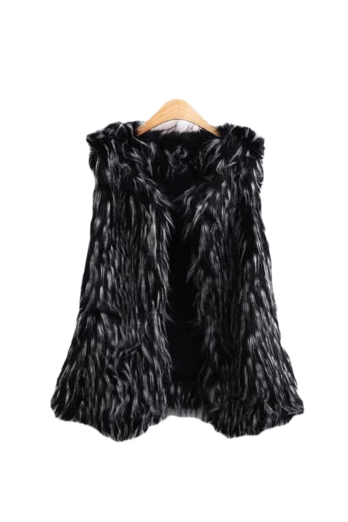 Goodnight Macaroon 'Eden' Long Blend Fur Sleeveless Vest