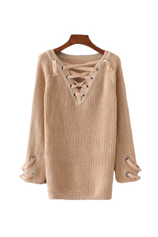 'Gabriella' Criss Cross V Neck Longline Tunic Sweater from Goodnight Macaroon