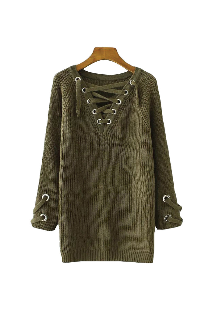 'Gabriella' Criss Cross V Neck Longline Tunic Sweater - Goodnight Macaroon
