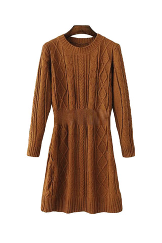 'Makayla' Pattern Knit Crewneck Tunic Light Brown Front from Goodnight Macaroon