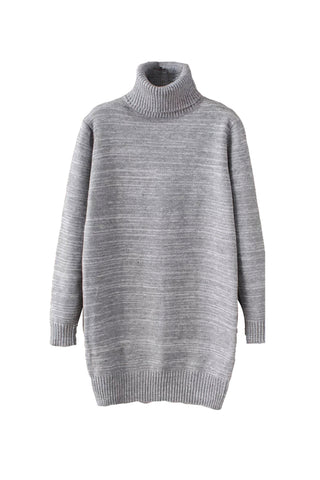 'Lena' Turtleneck Long Sleeved Pullover Gray Front from Goodnight Macaroon