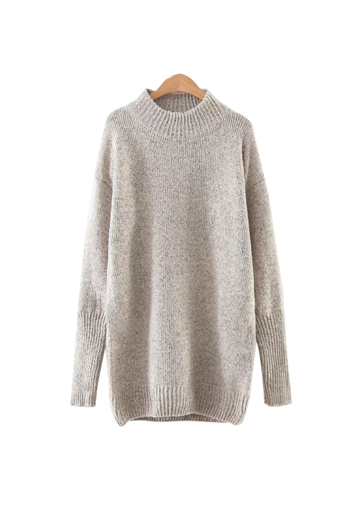'Nevaeh' Textured Knit Crewneck Pullover Beige from Goodnight Macaroon