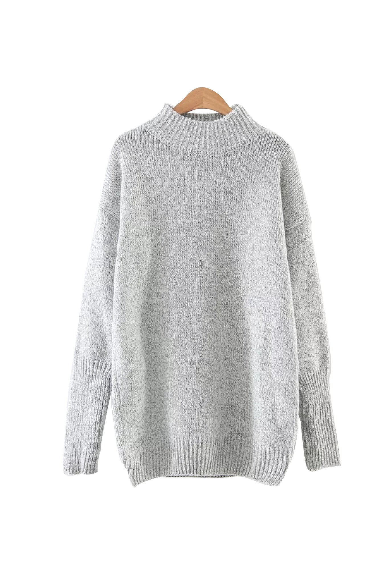 'Nevaeh' Textured Knit Crewneck Pullover Gray from Goodnight Macaroon