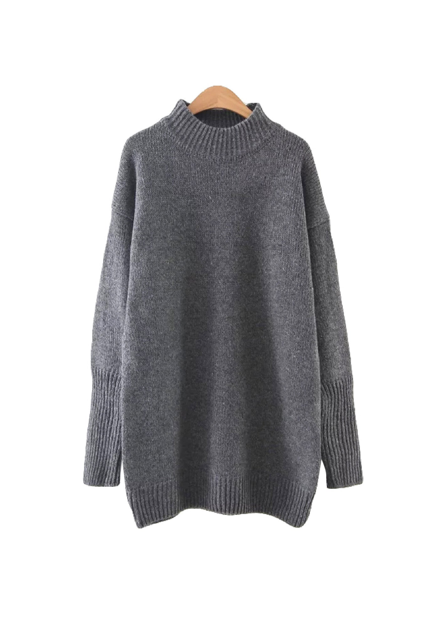 'Nevaeh' Textured Knit Crewneck Pullover Dark Gray from Goodnight Macaroon