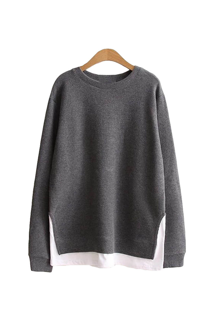 'Beatrice' Mock Layer Side Slit Crewneck Sweater - Gray - Goodnight Macaroon