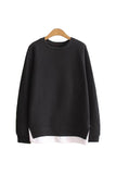 'Beatrice' Mock Layer Side Slit Crewneck Sweater - Black - Goodnight Macaroon