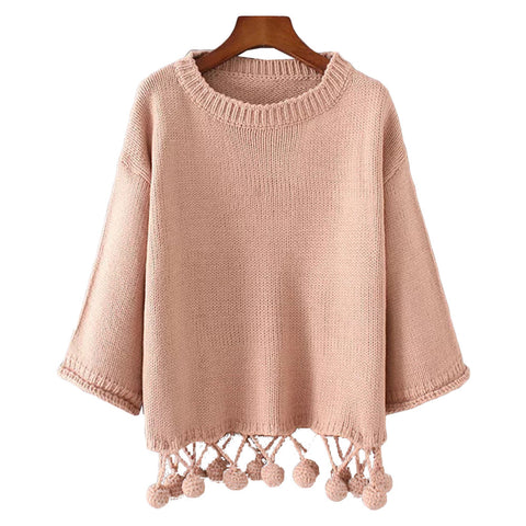 'Nicole' Pom Pom Knitted Sweater