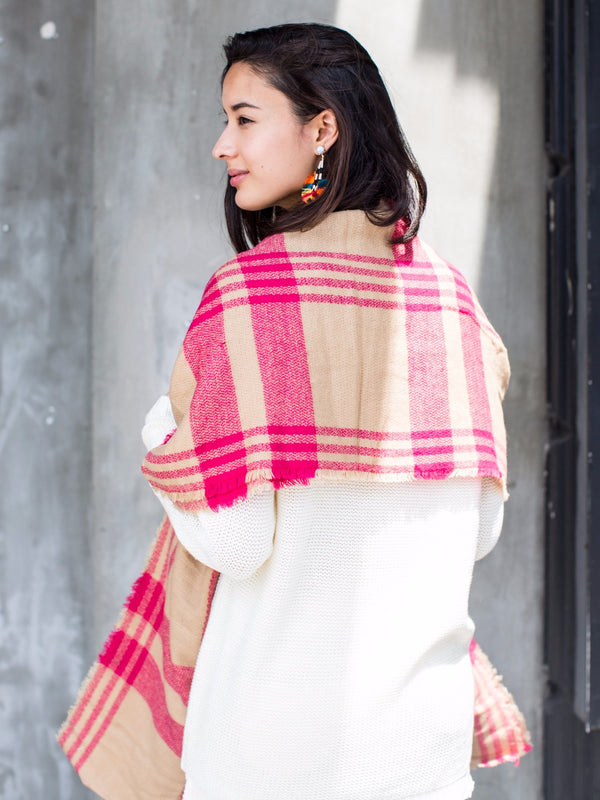 'Rose' Fuchsia Plaid Blanket Scarf