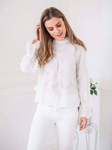 'Flavia' White Crochet eyelet lace top