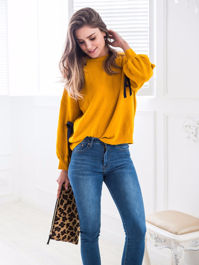 'Julie' Mustard Yellow Ribbon Bow Sleeve Sweater