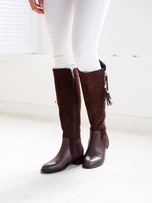 'Mavis' Suede Over-the-knee Riding Leather Boots ( 2 Colors Available )