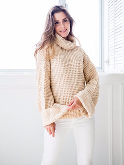 Goodnight Macaroon 'Retta' Cream White Ribbed Cropped Turtleneck Sweater Model Front Half Body