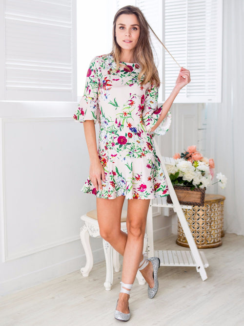 'Lara' Blush Pink Silky Floral Print Shift Dress