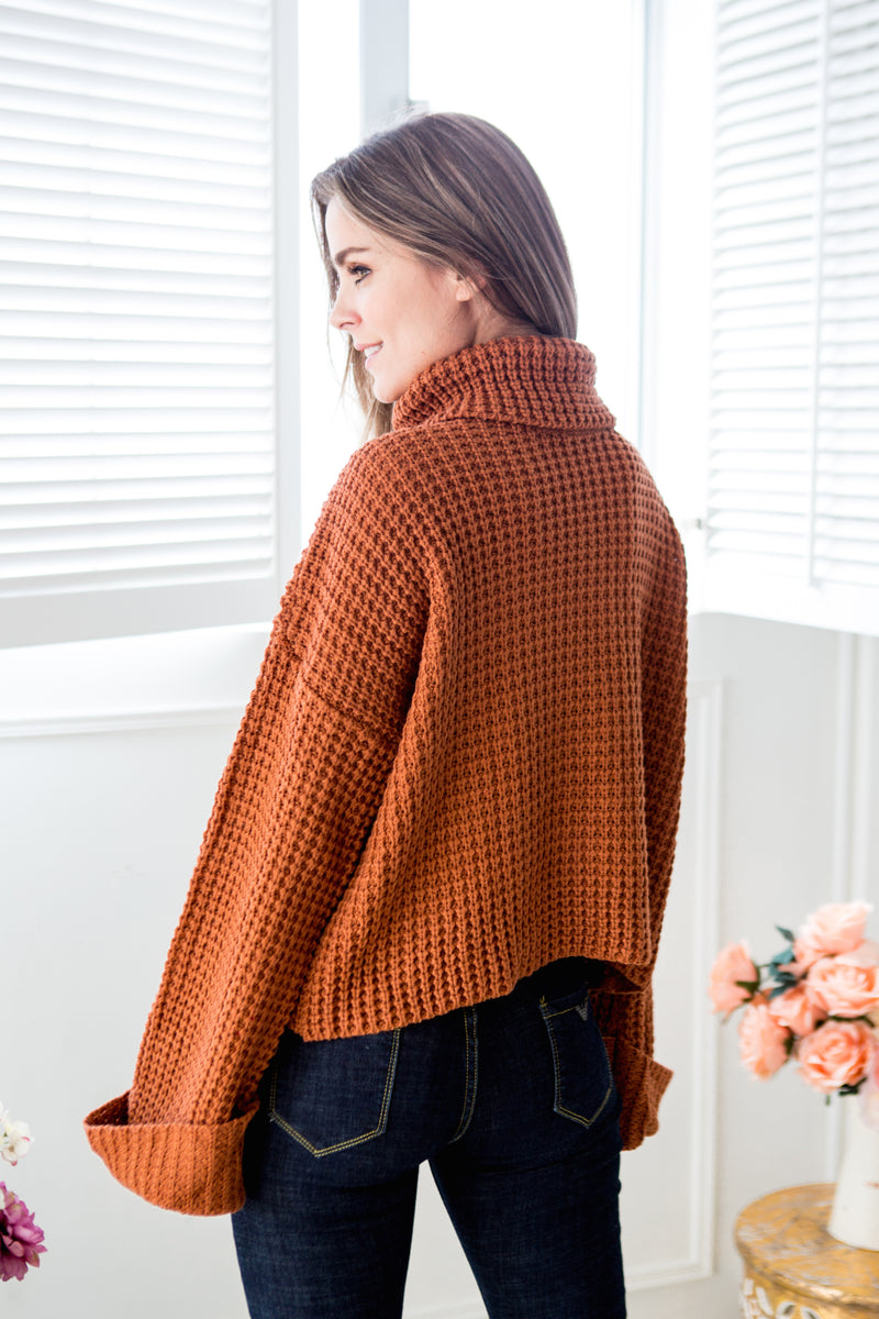 Goodnight Macaroon 'Retta' Cognac Ribbed Cropped Turtleneck Sweater Model Side Half Body