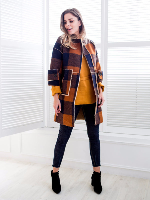 'Petrina' Orange & Navy Plaid Oversized Coat
