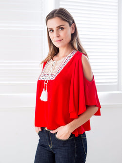 'Rae' Red Off The Shoulder Top