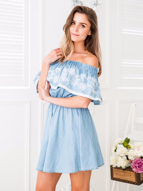 'Isabel' Ruffle Embroidered Chambray Off the Shoulder Dress