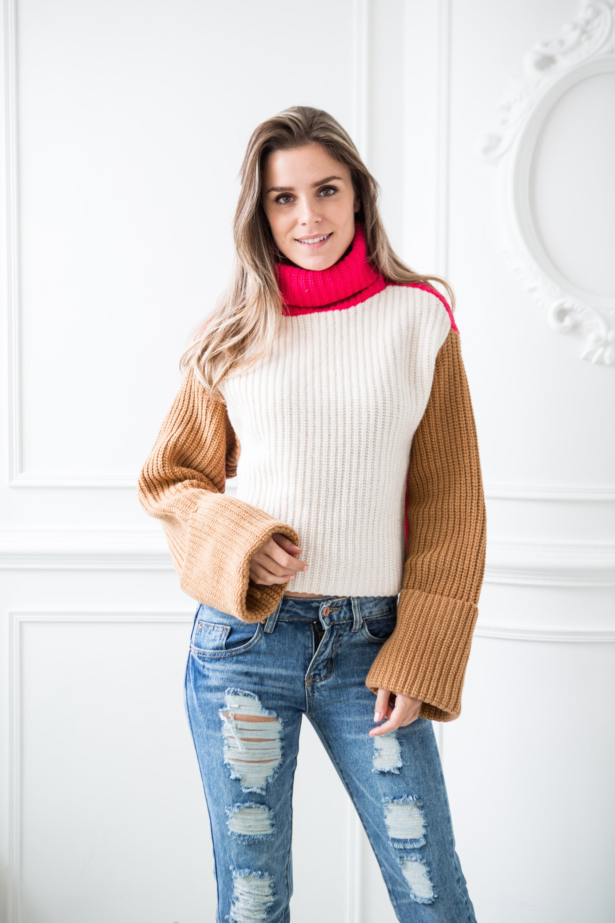 'Lennie' Two way Colorblock Turtleneck Sweater