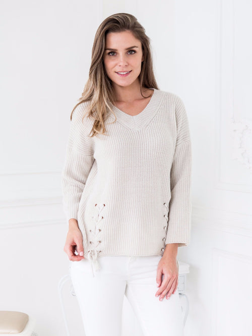 'Particia' Side Lace Up V-neck Sweater