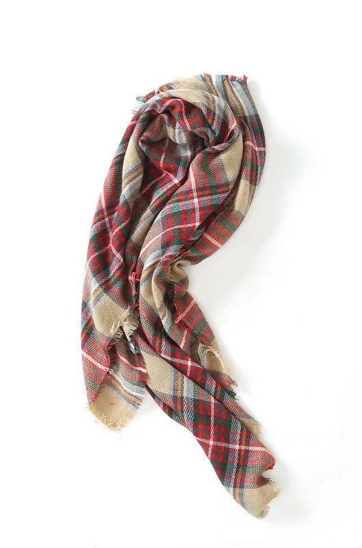 'Catriona' Red Gingham Scarf