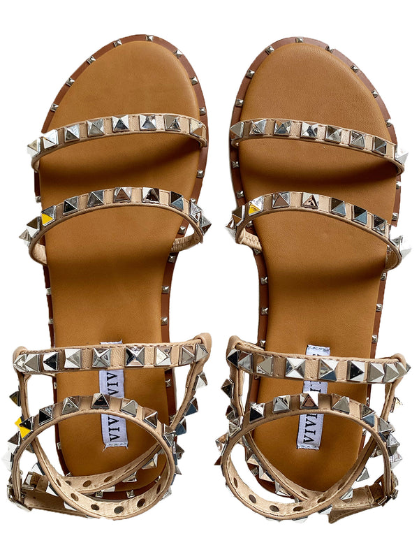 'Hadley' Studded Strap Tan Sandals
