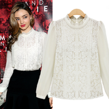 'Chloe' Ivory Royal Crochet Lace Chiffon Blouse