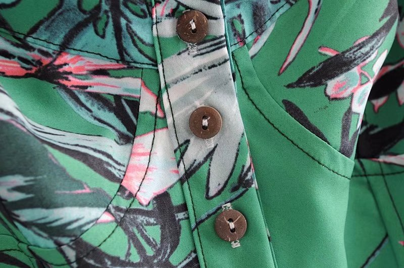 'Shantel' Crossed Back Green Floral Print Overall Romper Buttons Goodnight Macaroon