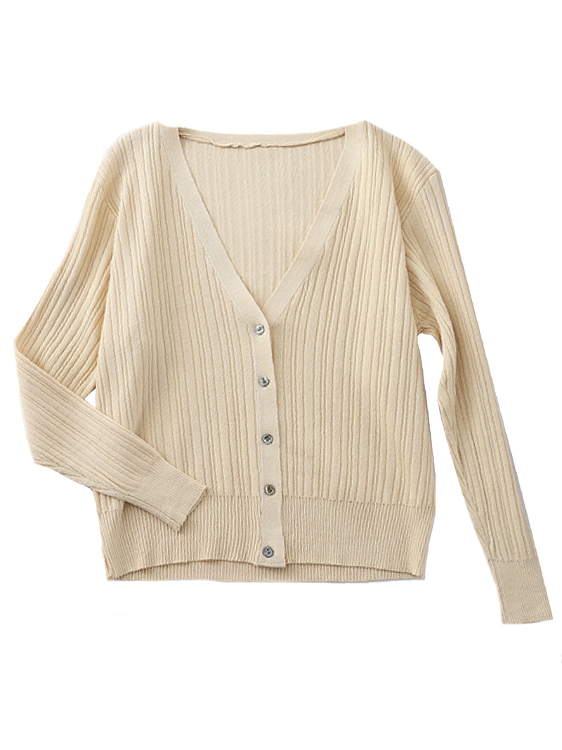 'Sara' Lightweight Button Ribbed Knit Cardigan