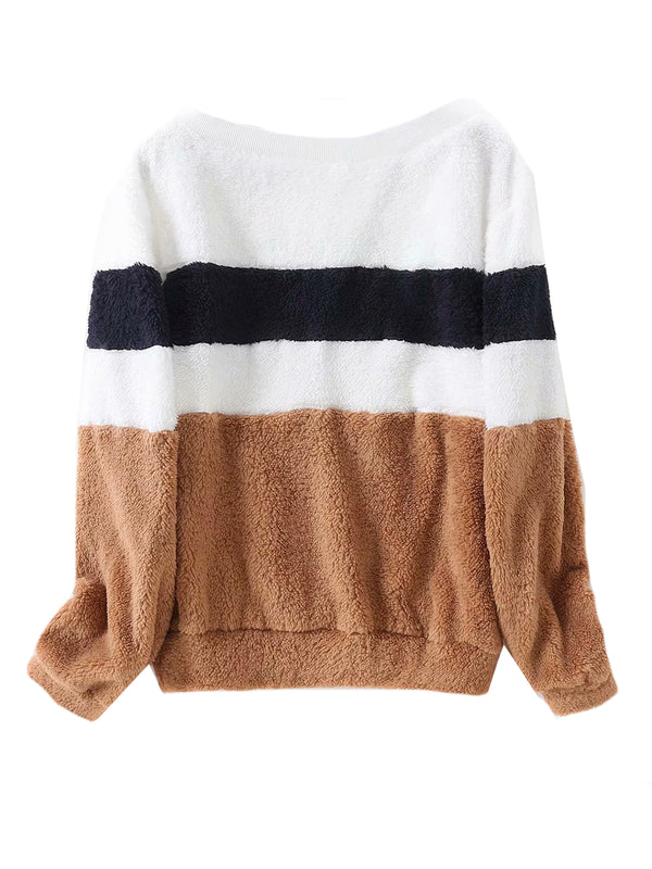 'Samara' Color Block Fleece Top (2 Colors)