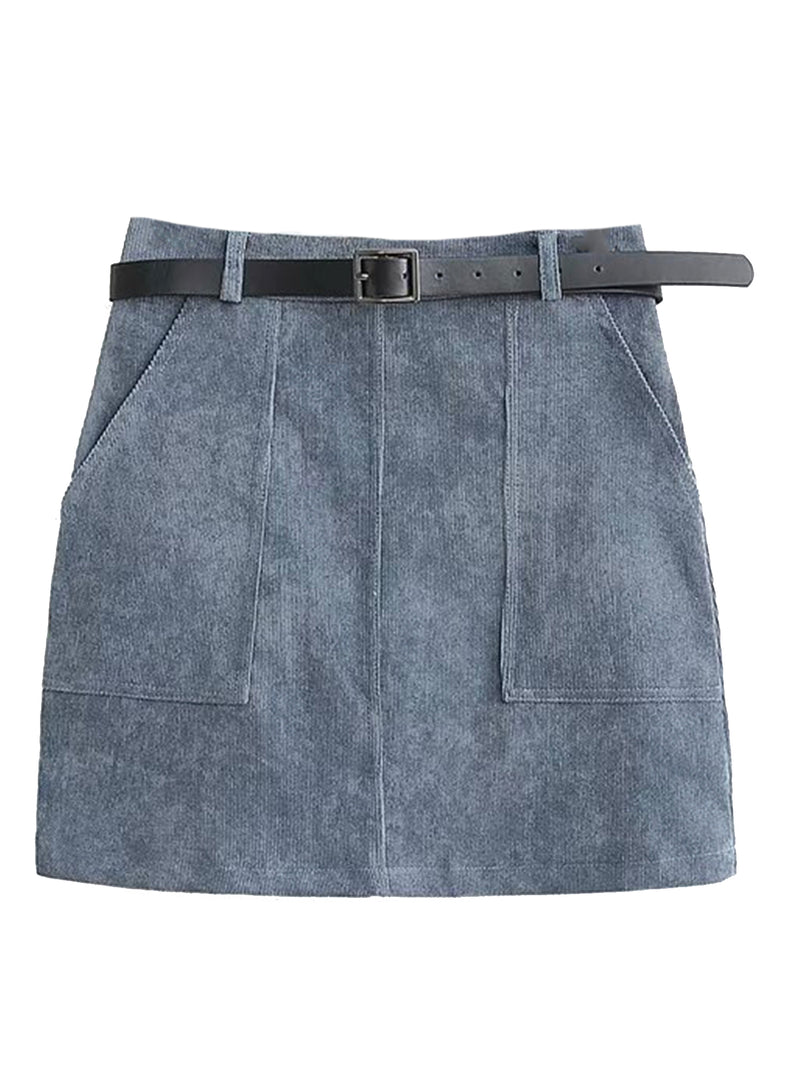 'Skyla' Faux Sued Mini Skirt with Belt (2 Colors)