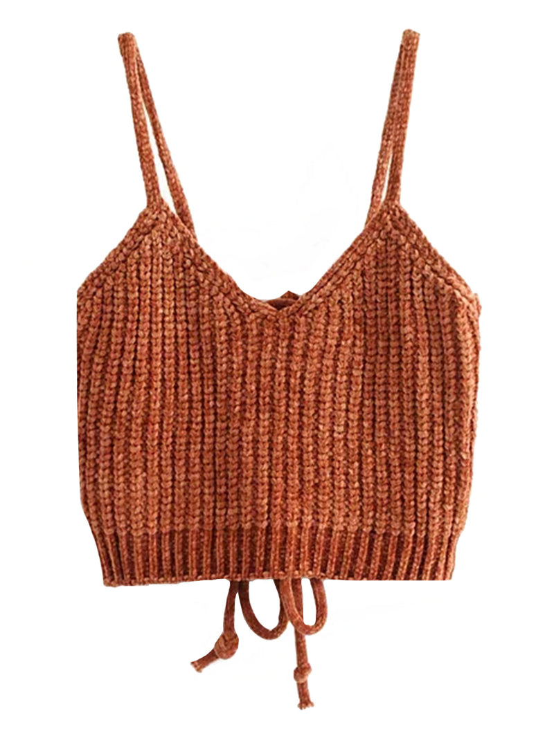 'Sabrene' Chenille Knitted Tie Back Crop Top (4 Colors)