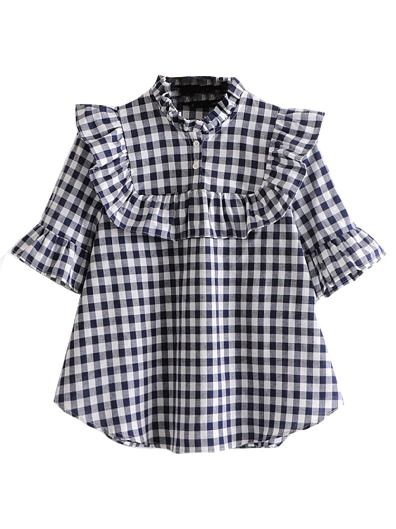 'Sonya' Gingham Frill Top