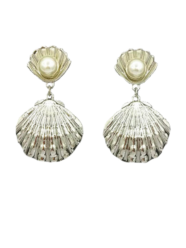 'Esther' Pearl Detail Shell Earrings (2 Colors)