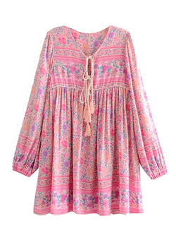 'Sherry' Bohemian Print Pink Tassel Dress