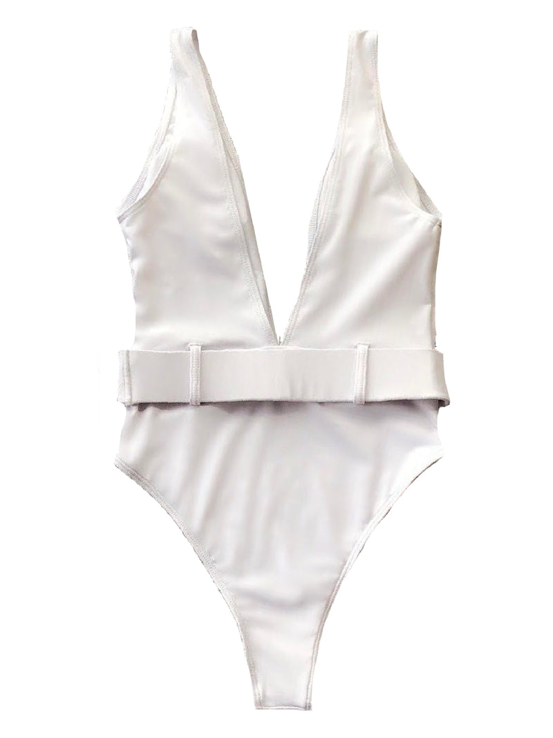 'Crew' Plunge Neck Belted Swimsuit (4 Colors)