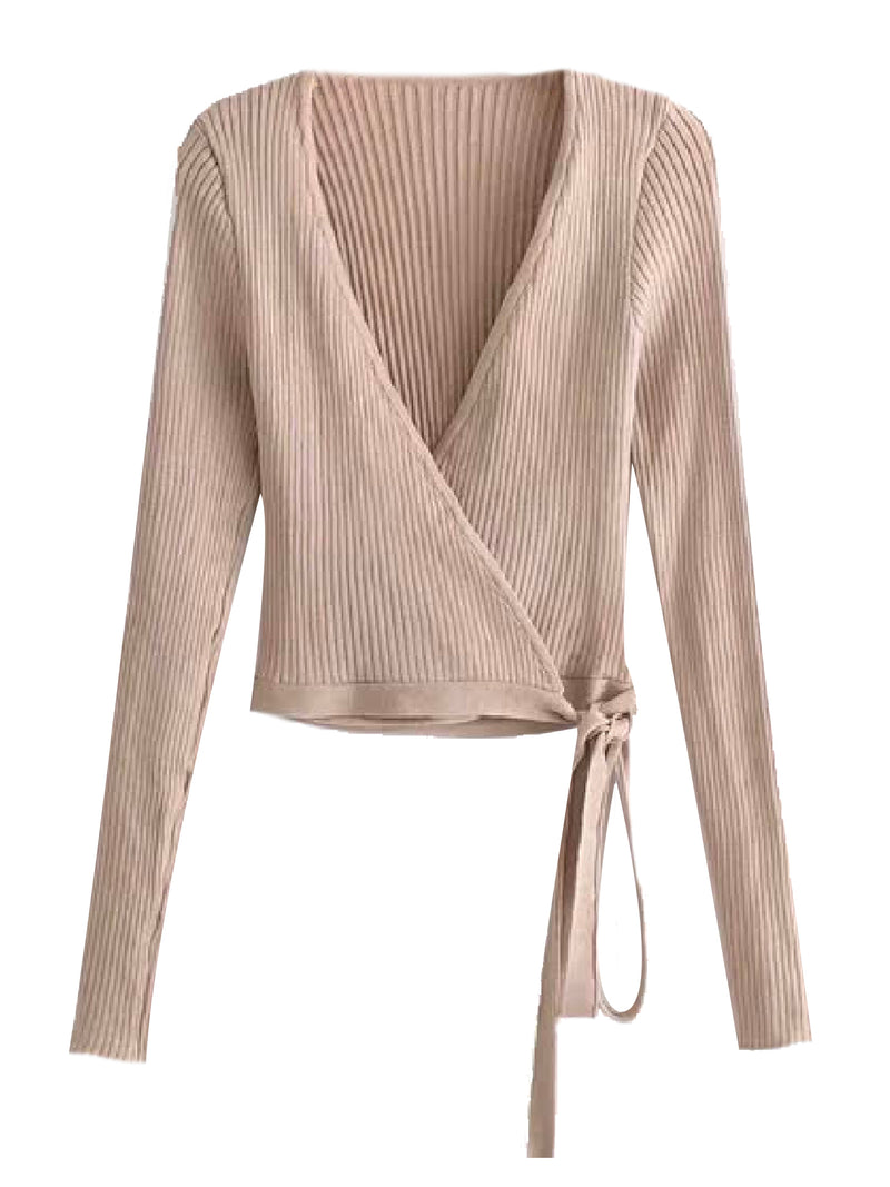 'Angela' Ribbed Knit Wrap Top (3 Colors)