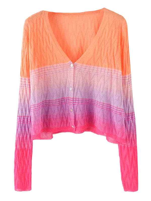 'Barbara' Colorblock Lightweight Cardigan