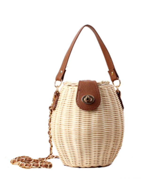 'Winnie' Rattan Bucket Bag with Top Handle (3 Colors)