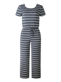 'Kimberly' Cotton Striped Tied Waist Jumpsuit (3 Colors)