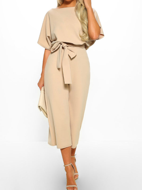 'Aria' Boat Neck Short Sleeve Tied Waist Jumpsuit (4 Colors)