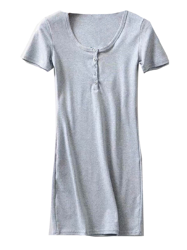 'Leah' Cotton Button Short Sleeves Dress (3 Colors)