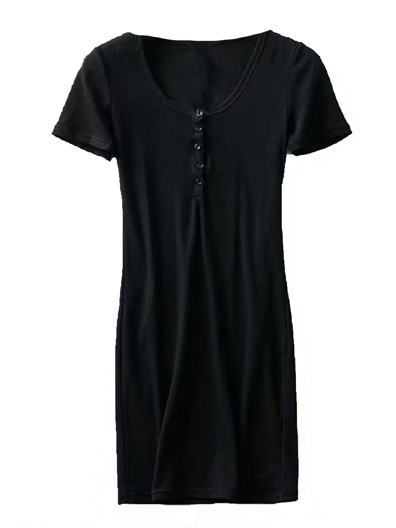 'Leah' Cotton Button Short Sleeves Mini Dress (3 Colors)