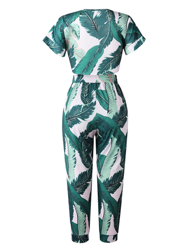'Liz' Palm Leaf Print Tie Front Two Piece Set