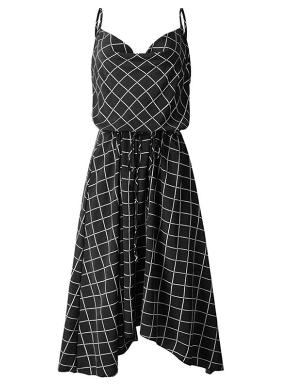 'Anniston' Check Pattern Cowl Neck Flare Midi Dress (2 Colors)