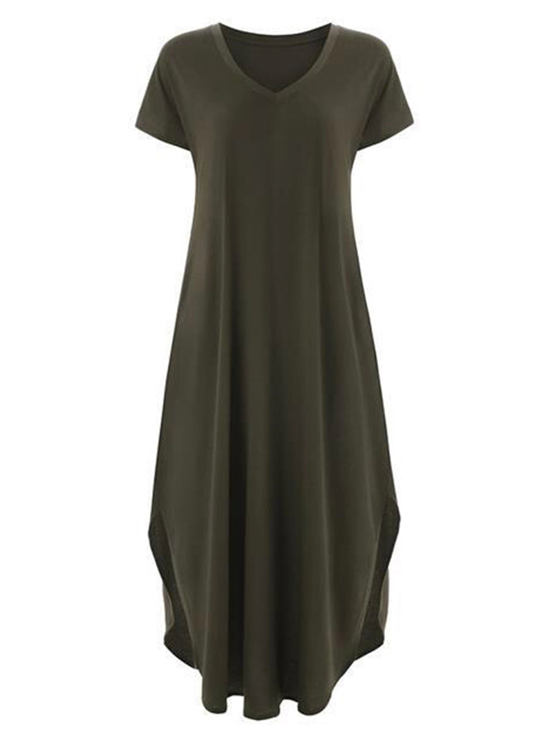 'Melissa' V Neck Casual T Shirt Maxi Dress (9 Colors)
