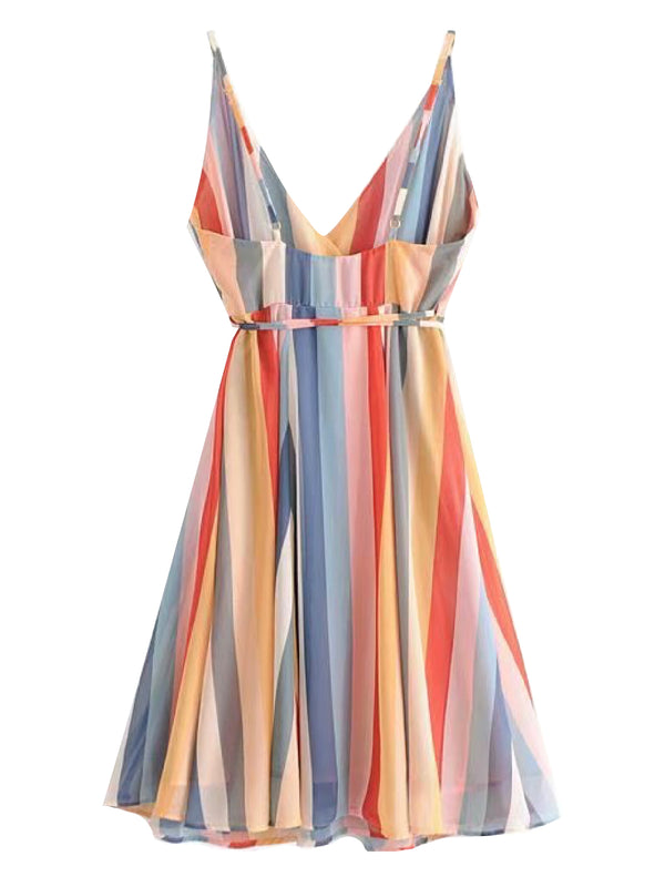 'Suki' Strap Color Stripes Wrap Mini Dress
