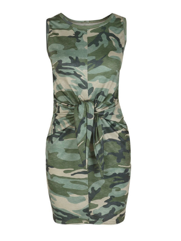 'Army' Camouflage Print Front Tied Tank Dress